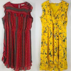 2 Loft Plus Yellow Floral V Neck Red Round Neck